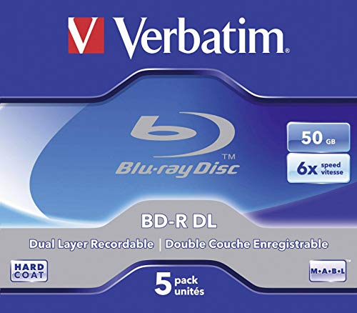 Verbatim BD-R Dual Layer 50 GB - Blu-Ray-Disk - 6-fache Brenngeschwindigkeit - Hardcoat Scratch Guard - Jewel Case - 5er Pack