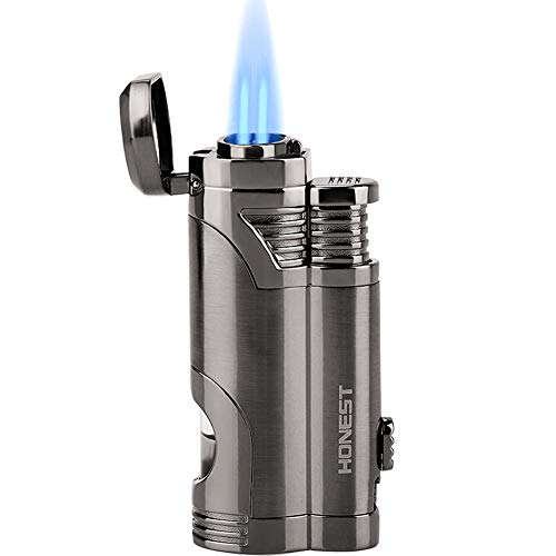 Torch Lighter Turbo Dual Jet Flame Refillable Butane Lighter Windproof Gas Fluid Lighter -Butane Not...