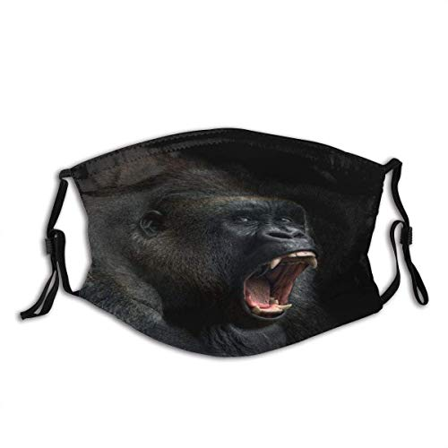 Animal Ape Monkey Gorilla Silverback Teeth Portrait Close-up Mountain Africa Emotions Dust Washable Reusable Filter and Reusable Mouth Warm Windproof Cotton Face