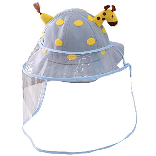Flairs New York Kids Hat with Detachable UV Protective Cover (One Size Fit Most, Yellow Giraffe/Blue [with Elastic Strap])