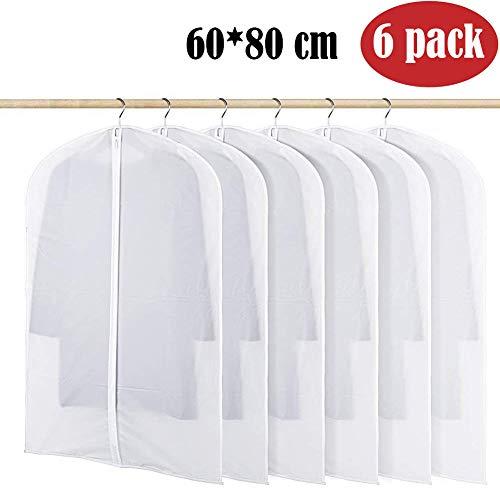 BangShou Kleidersack 6 Stück Kleidersäcke aus Atmungsaktive Material mit Größe von 60cm x 45/80/100/120/140cmTransparent Kleidersäcke schutzhülle für Kleider und Anzüge (60 x 80cm)