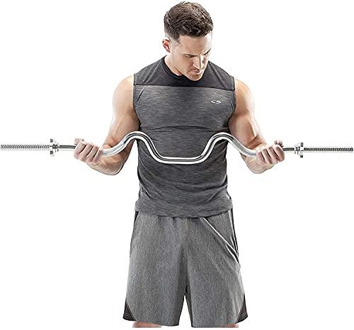 HXEFNA Barra de Curl, Tríceps Y Bíceps, Barra de Curl Combinada, Barras de Pesas de Acero Sólido de 47 Pulgadas para Entrenamiento de Fuerza, con 2 Collares de Espinillas