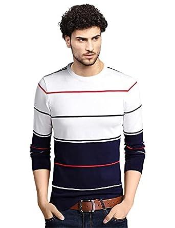 EYEBOGLER Men's Regular Fit Striped Round Neck T-Shirt