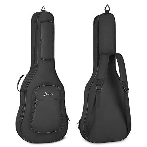 Donner Akustikgitarre Gig Bag 36 Zoll Gitarrentasche 10mm gepolstert wasserdicht Gitarre Rucksack Gitarrenhülle, Schwarz