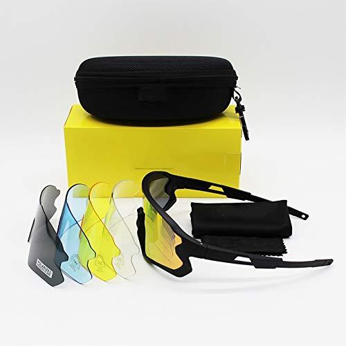 JFSZZ Lentes Polarizado Deportes al Aire Libre de la Bicicleta de los Hombres de Las Gafas de Sol del Camino de MTB Ciclismo Eyewear (Color : Black, Lenses Color : 5 Lens)