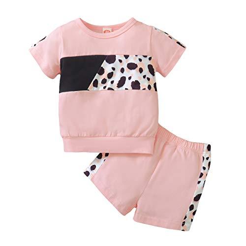 Conjunto de ropa para bebé con estampado de leopardo, manga larga, sudadera tipo harén, pantalón para recién nacidos, ropa de bebé, 2 unidades, Color rosa., 2-3 Años
