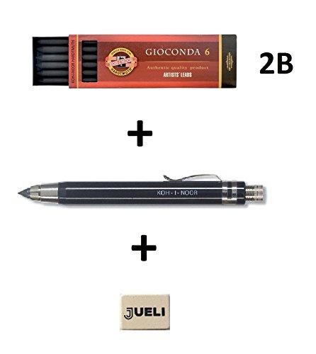 Koh-I-Noor 5359 - Portamina interamente in metallo, 5,6 mm, con temperino, colore: Nero + Koh-i-noor H4865- 2B Matic Mine per Portamine (set di 6 mine) + Omaggio Gomma Jueli