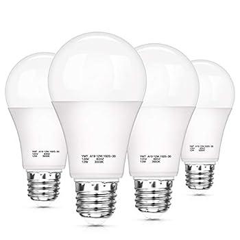 Dusk to Dawn Light Sensor Bulbs A19 12W 100 Watt Equivalent  LED Auto On Off Light Bulbs 1200 Lumens E26 Base Warm White 3000K LED Smart Sensor Lights Outdoor Indoor for Porch Garage Yard 4-Pack