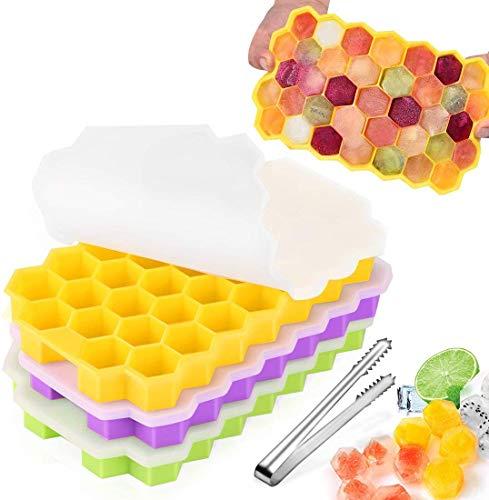 Zaloife Eiswürfelform Silikon, Silikoneiswürfel, 3er Pack 37-Fach Eiswuerfel Form, Ice Mold, Eiswürfelschalen, Stapelbar Eiswürfelbehälter Mit Deckel, Ice Cube Tray, Eiswuerfel, Eiswürfel BPA Frei