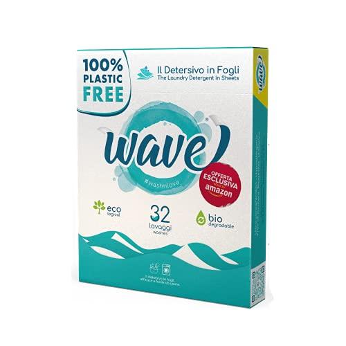 Wave Washing Classic - Il Detersivo in Fogli - 100% PLASTIC FREE - 32 lavaggi - Ecologico - Biodegradabile - Compostabile