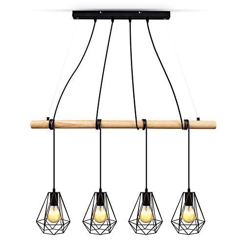 B.K.Licht Lampadario vintage legno e metallo nero, adatto per 4 lampadine E27 non incluse max 60W, altezza regolabile, lampada a sospensione retrò per sala da pranzo, stile industriale IP20