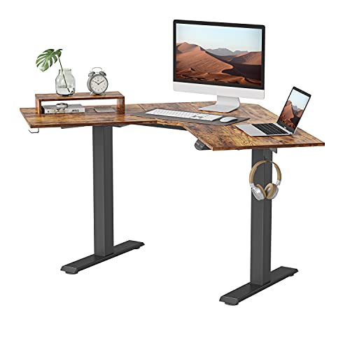 BANTI Dual Motor Adjustable Height Electric Standing Desk, Height Adjustable Corner Desk, Full Sit Stand Home Office Table with Splice Board, L-Shaped 48 Inch, Rustic Brown