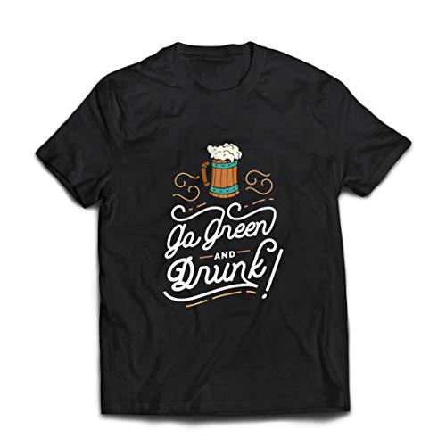 lepni.me Camisetas Hombre IR Verde y Borracho Feliz Día de la Cerveza (X-Large Negro Multicolor)