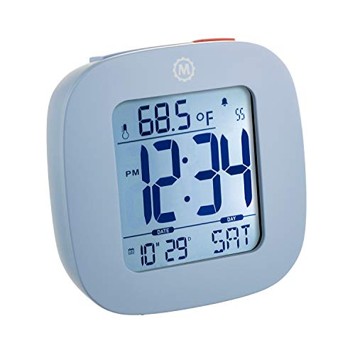 MARATHON CL030058BL Compact Alarm Clock with with Snooze, Light Feature, Temperature and Date - Blue - Batteries Included -  FBA_CL030058BL