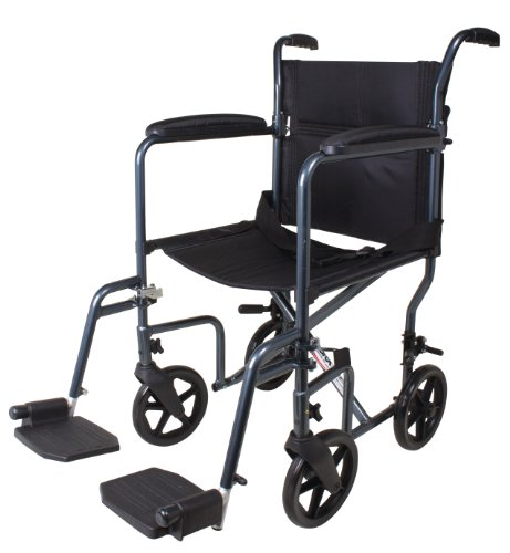 Carex Lightweight Transport Wheelchair - 19 Inch Seat - Folding Transport Chair for Adults - Aluminum - 8 Inch Wheels