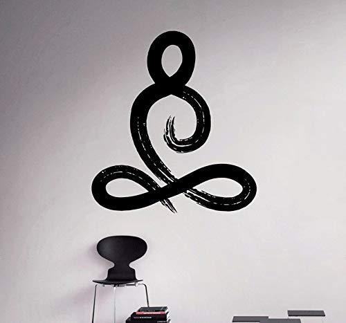 Kjlfow Signo Yoga Pose Pared Vinilo calcomanía Yoga habitación Pegatinas de Pared decoración Sala de Estar Pintura de Pared artículos para el hogar 113x124cm