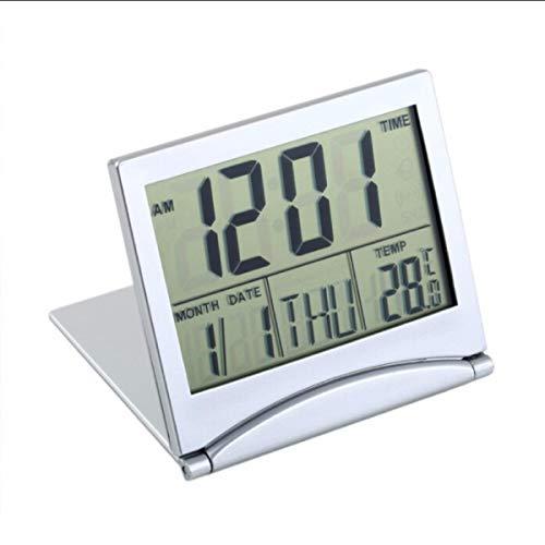 Jinxuny Schreibtisch Digitaluhr Reise Radio Clock LCD Folding Digitalwecker Faltbarer Wecker Timer Kalender mit Thermometer Timer Kalender Uhr Benutzerhandbuch