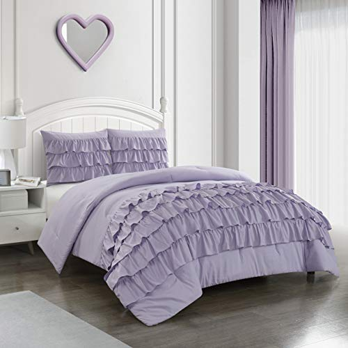 Heritage Kids Ruby Ruffle 2 Piece Comforter Set, Lavender, Twin