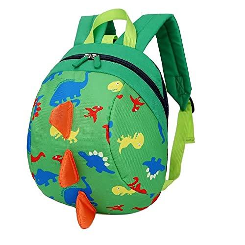 Dinosaurios Mochila para niños | Guardería Mochila Preescolar para niños | con Correa de Arnés de Seguridad | Mochila Liviana para Niños (Verde)