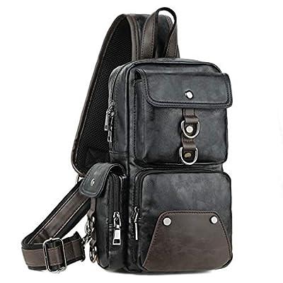 Leather Sling Bag Backpack for Men Crossbody Shoulder Chest Bag Daypack Backpacks Outdoor