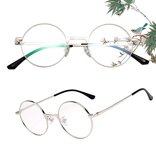 老眼鏡 丸メガネ 正円 軽い ブルーライトカット チタン合金 ケース付き ユニセックス メンズ レディース リーディンググラス 度付き シルバー 度数+100 L8313
