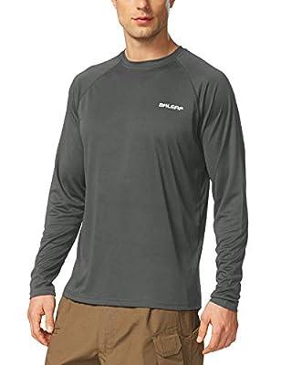 BALEAF Men's UPF 50+ Running Outdoor Sun Protection Long Sleeve Lightweight Quick Dry Athletic Workout Hiking Shirt Deep Gray Size XL