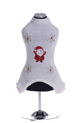 Trilly tutti Brilli 162-MindybiaXS Mindy Tuta 4 Zampe in Lana con Applicazione Termica Babbo Natale, Fiocchi di Neve e Pietre Swarovski, XS, Bianco