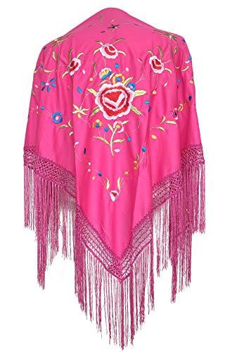 La Senorita Spaanse manton/doek lichtroze met verschillende bloemen