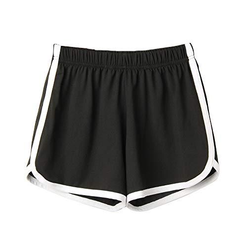 Huir - Pantalones cortos para hombre y mujer, para yoga, fitness, correr, pantalones de playa, pantalones de dormir, pantalones cortos deportivos sueltos, tres pantalones para hombres y mujeres Negro Negro ( M
