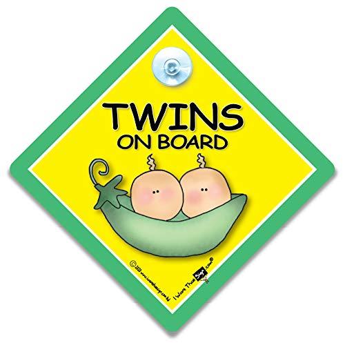 """Twins On Board"" Twins On Board, Peapod Twins On Board ""-Schild, Unisex Baby On Board"" -Schild, Unisex, Schriftzug ""Twins.. On Board Baby Safety Sign Schild"" Baby On Board ""-Schild, Baby On Board, Twins On Board Schild Baby Car Sign-Zwillinge Car Sig"