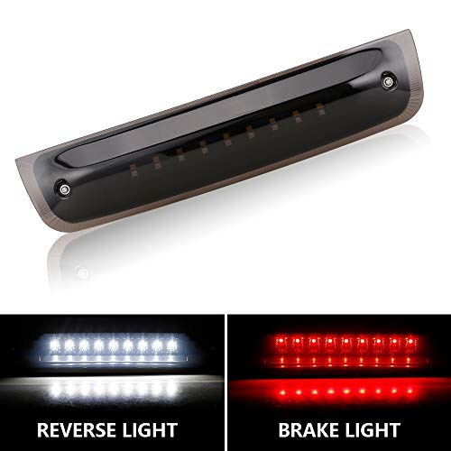 LED 3rd Brake Light Tail Rear High Mount Lamp for 2009-2017 Dodge Ram 1500 2010-2017 Dodge Ram 2500 3500 Red & White Light with Smoke Lens Black Housing - Waterproof - One Year Warranty