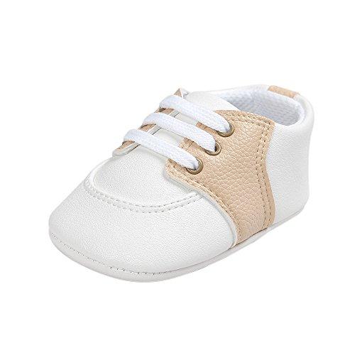 Baby Meisjes Eerste Schoentjes Zuigeling Antislip Zachte Zool Schoenveter Sneakers Beige 12-18 maanden