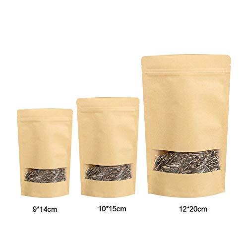 FHFF Kraft Paper Bag 10 Teile / Paket Einzelhandel Tasche Teebeutel Kraftpapier Selbstsiegelbeutel Kaffee Samen Süßigkeiten Druckverschluss Papiertüte 12X20 cm