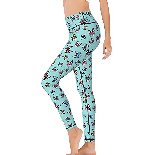 LQLDHJ French Bulldogs with Glasses High Waist Yoga Pants Tummy Contral Workout Running Leggings Capris for Women