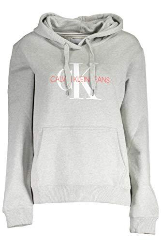 Calvin Klein Jeans Damen Monogram Relaxed Short Hoodie Sweatshirt, Grau (Light Grey Heather P01), 38 (Herstellergröße: Large)