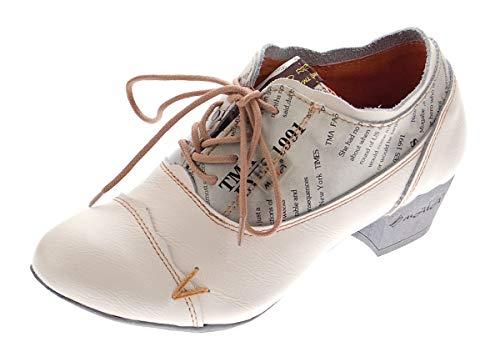 TMA Damen Comfort Schnür Pumps Weiß-Creme Echtleder Trichterabsatz 6161 Leder Schuhe Gr. 40