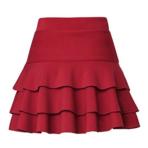 N\P Falda de media longitud de las señoras elástico de cintura alta pantalones de seguridad media falda de color sólido casual