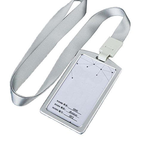 Aluminum Alloy Vertical Style ID Card Badge Holder with Neck Lanyard Strap 2PCS - 03