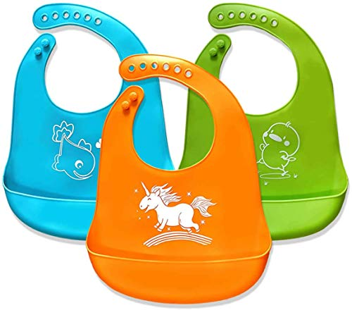 Baby Bibs,Silicone Bibs for Newborns Infant Toddlers,Comfortable Soft,Easily Wipes Clean,Baby Gifts,Set of 3 Colors