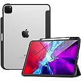 TiMOVO Funda Compatible con iPad Pro 12.9 Inch 2020, Cubierta Triple Claro con Borde de Colchón Aire de TPU, Soporta de Carga de Stylus Pencil, Auto Sueño/Estela - Negro