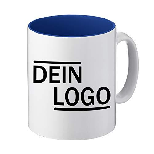Foto Premio Werbetasse mit Logo | Kaffeetassen mit Logo Bedrucken, Tasse mit Logo in Kleiner Auflage günstig bestellen, Spülmaschinen- und Mikrowellenfest, 300ml Füllmenge (Dunkelblau, Standard)