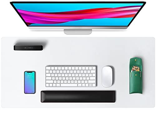 Alfombrilla de escritorio, alfombrilla de ratón, protector de escritorio, papel secante de cuero de PU antideslizante para juegos de oficina/hogar(80cmx40cm, Blanco)
