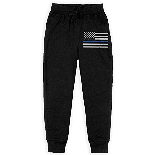 Just life Pantalón de chándal de Jogging para niños con Bandera de Blue Line Pantalón de chándal elástico Negro