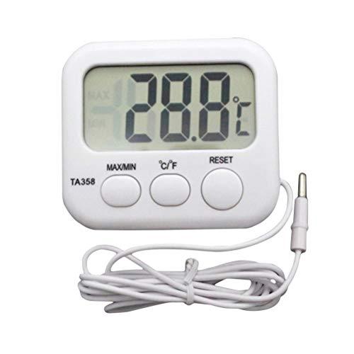 LIOOBO Termómetro Digital para Acuario, Alta precisión, Resistente al Agua, para Acuario, vivario, Reptil, terrario, Temperatura (Blanco)