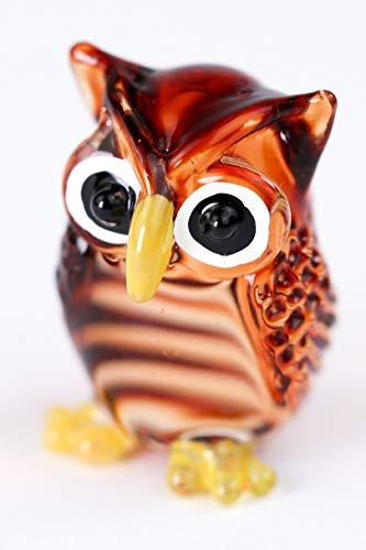 redchocol8 Handmade Brown Little Glass Owl Gloss Garden Decor Ornament Gift Collectable
