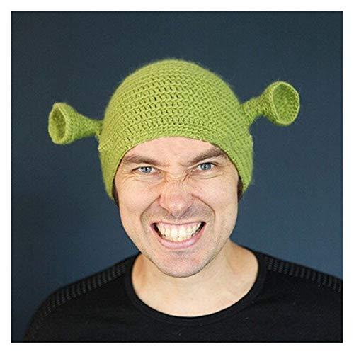 WSY Unisex Balaclava Monster Shrek Hat Lana Inverno Inverno Cappelli a Maglia Verde Party Divertente Berretto Berretto Skullies cap per Le Donne Uomo Pure Handmade (Color : Green, Size : 55 59CM)