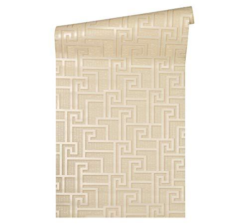 Versace wallpaper Vliestapete Greek Luxustapete geometrisch grafisch 10,05 m x 0,70 m beige creme metallic Made in Germany 962364 96236-4