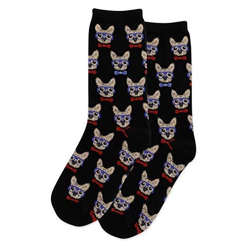 HotSox Smart Frenchie Kids Socks, Black, 1 Pair, Small/Medium