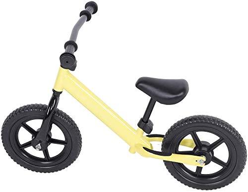 JIAO Bici De Balance De Acero Al Carbono Amarillo De 12 Pulgadas para Niños, Sin Bicicleta De Pedal para Niños