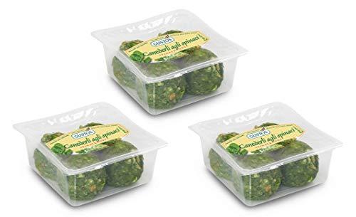 3 Packungen Spinatknödel, die leckere und gesunden grünen Knödel von Gustos, jeweils 4 Stück. Mit 27 % Spinat, nach traditionellem Rezept hergestellt